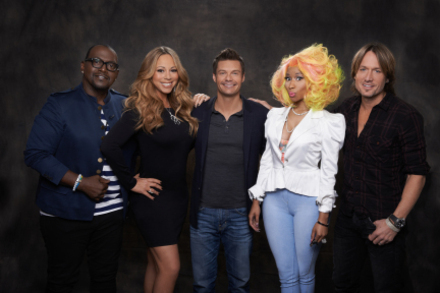 AMERICAN IDOL 2013 judges with host Ryan Seacrest. Fox Television.