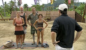 Lisa Whelchel, Michael Skupin, Malcolm Freberg and Denise Stapley on SURVIVOR PHILIPPINES. CBS.