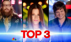 Nicholas David, Cassadee Pope & Terry mcDermott on The Voice. Image credit: NBC.