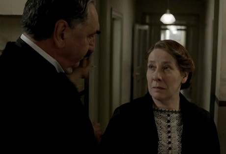Downton Abbey 4x2 Mrs. Hughes gazes at Carson