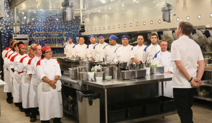HELL'S KITCHEN: Chef Ramsay (R) addresses the Red Team and the Blue