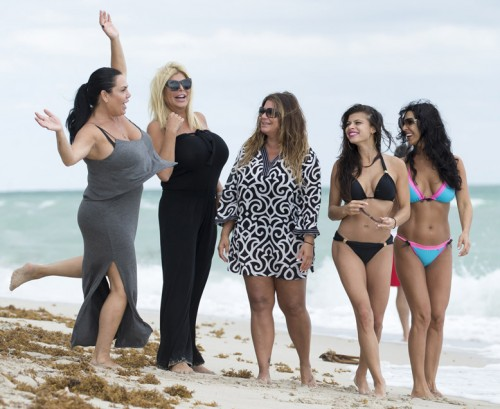 The cast of season six of the VH1 show Mob Wives hit the beach in Miami on Saturday afternoon. The girls are in town for an appearance at an event. Pictured: Left to Right) Renee Graziano, Big Ang, Karen Gravano, Marissa Jade, Carla Facciolo. Ref: SPL1154132 171015 Picture by: Splash News Splash News and Pictures Los Angeles: 310-821-2666 New York: 212-619-2666 London: 870-934-2666 photodesk@splashnews.com