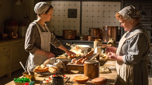 Sophie McShera as Daisy Mason and Lesley Nicol as Mrs. Patmore (Photo Credit: PBS)