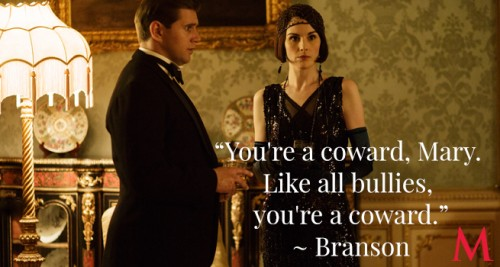 Allen Leech as Tom Branson and Michelle Dockery as Lady Mary Crawley (Photo Credit: PBS)