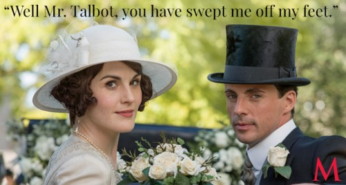 Michelle Dockery as Lady Mary Crawley and Matthew Goode as Henry Talbot at the wedding of Mary and Henry! (Photo Credit: PBS)