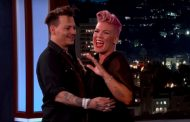 Pink Gets Flustered While Meeting Crush Johnny Depp on Kimmel (VIDEO)