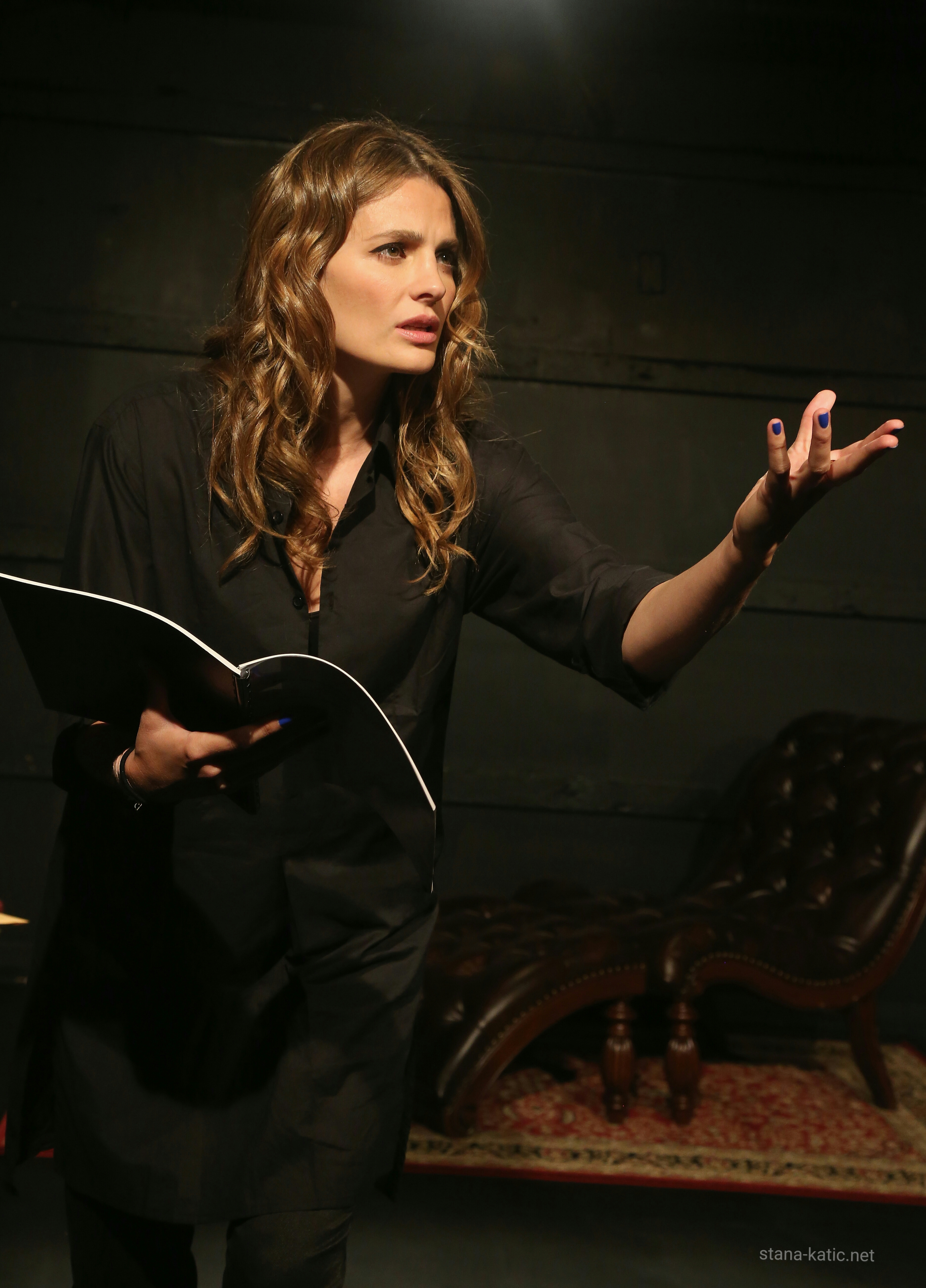 stana katic takes the stage in white rabbit red rabbit